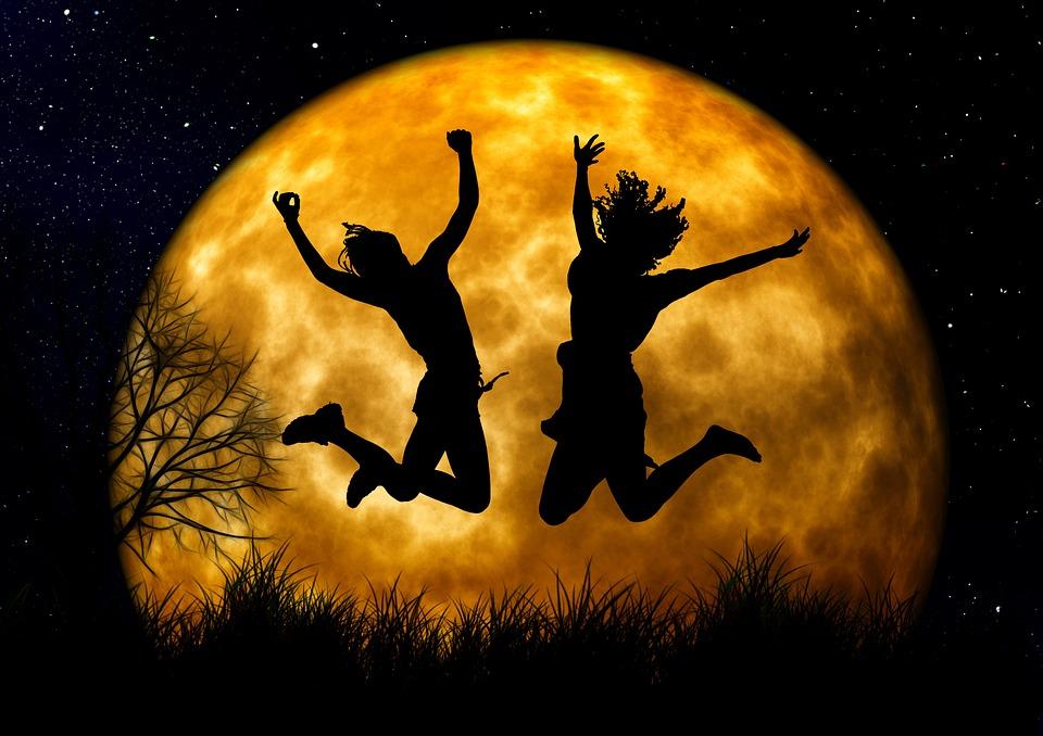 喜悦, 欢呼, 青年, 活动, 跳转, 快乐, 日出, 剪影, 两个, 人类, 自由, 热情, 树, Kahl