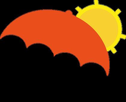 Deštník, Oranžová, Kapky, Žlutá, Čas