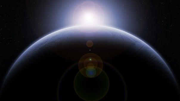 惑星, 月, 軌道, 太陽光発電システム, スペース, 地球, 太陽, 日の出