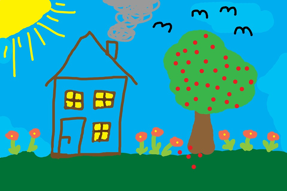 children drawing home tree meadow colorful - Children Drawing Images