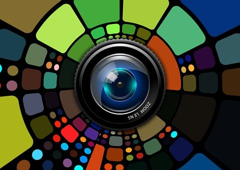 Lens, Camera, Colorful, Background