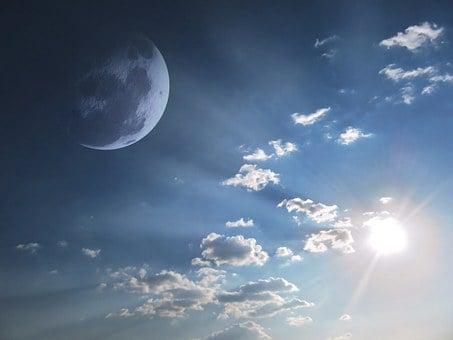 Sky, Moon, Skyscape, Sunshine, Sun