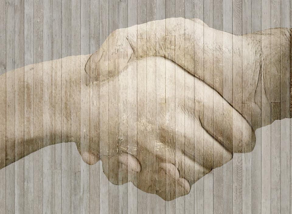 Handshake, Handen, Hout, Hek, Grens, Grunge, Bruin