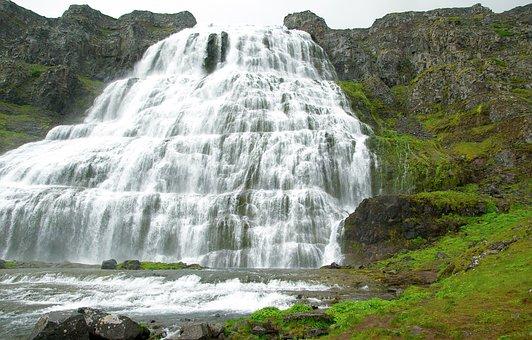 Iceland, Dynjandi, Cascade, Waterfall