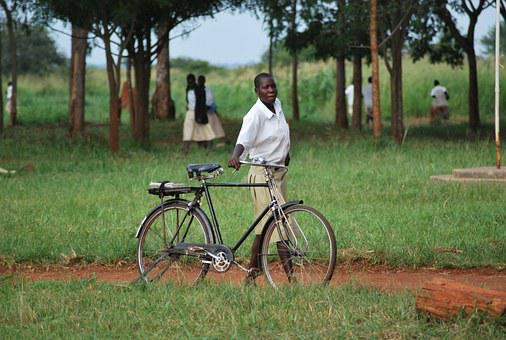 African, Student, Bicycle, Girl, School