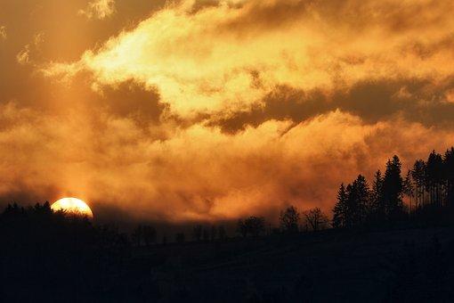 Sunrise, Trees, Silhouette, Mountain