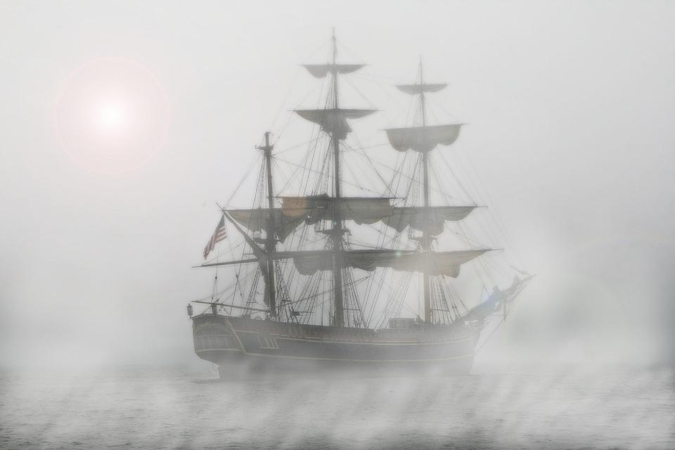 Piratas, Velero, Fragata, Barco, Niebla, Viaje, El Agua