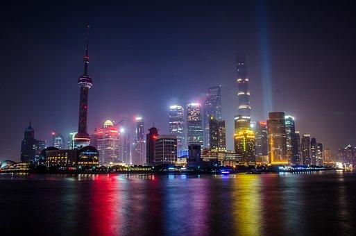 上海, 都市景観, 外灘, 光, 夜, 建物