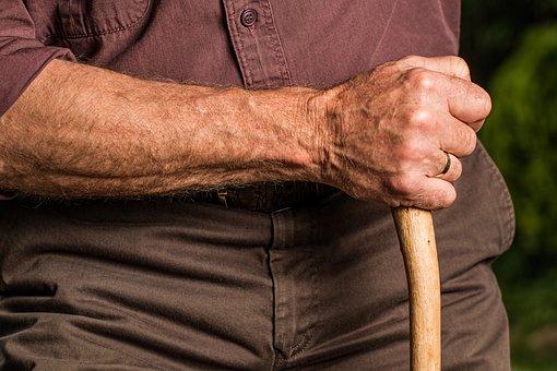 手, ステッキ, アーム, 高齢者, 老人, 杖, 引退, 退職, リラックス