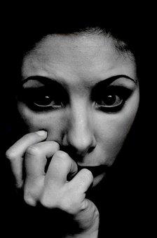 モデル, 暗い, ビンテージ, 女性, 不安, 脅かされています, 気になります