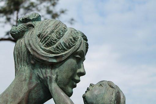 Mother, Child, Sculpture, Figure, Family