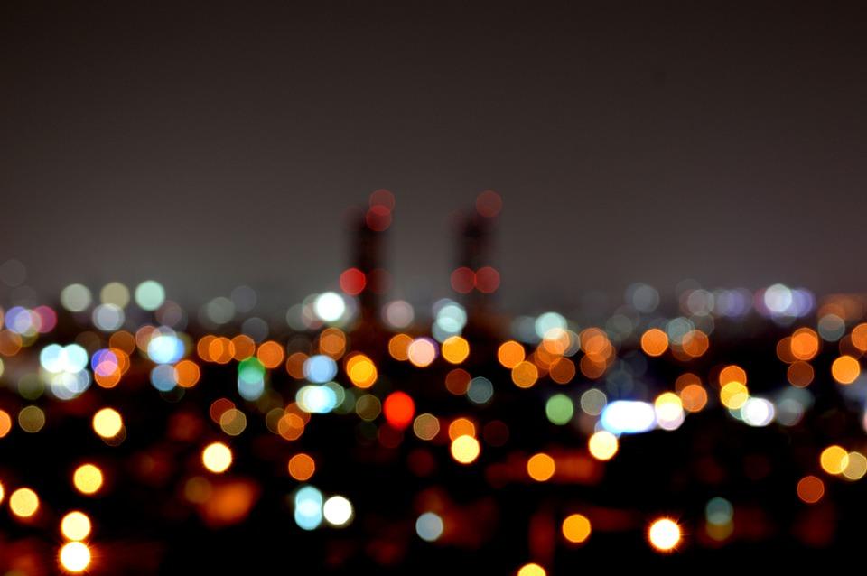夜景, 夕方, 夜, 曇り, 都市, 御岳