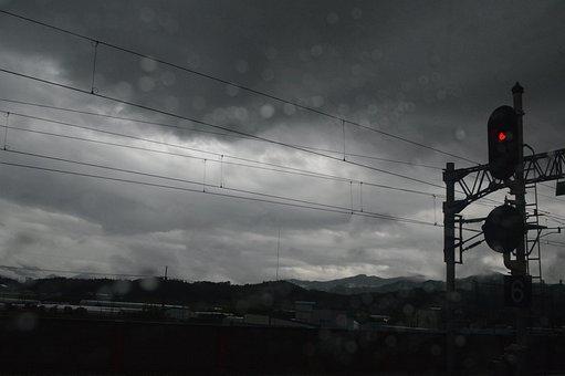 Train, Station, The Traffic Light, Cloud