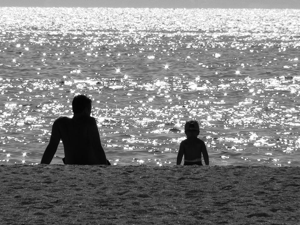 Mar, Praia, Preto E Branco, Família, Pai, Criança
