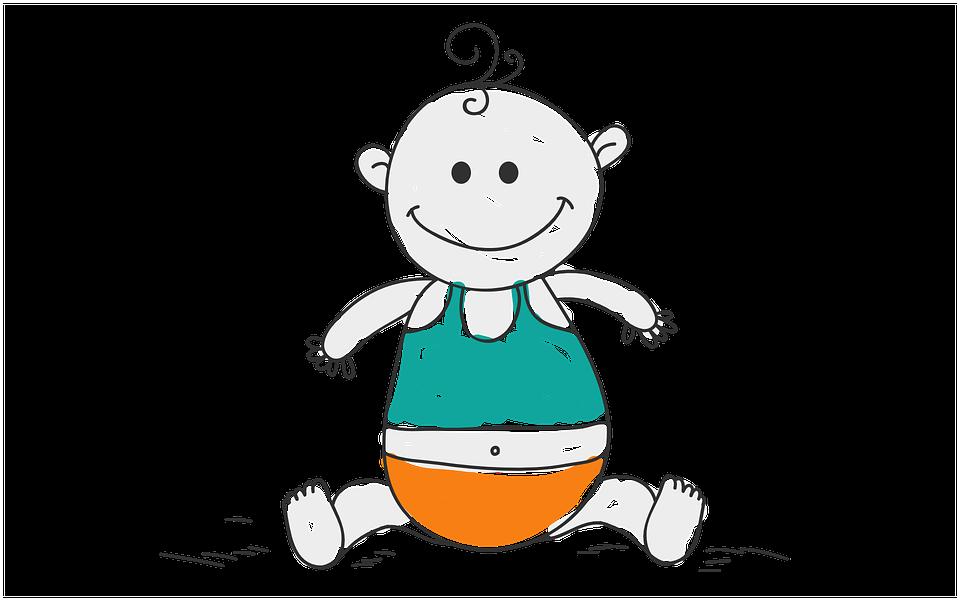 Bebé, Lindo, Niño, Nacimiento, Feliz, Dibujos Animados