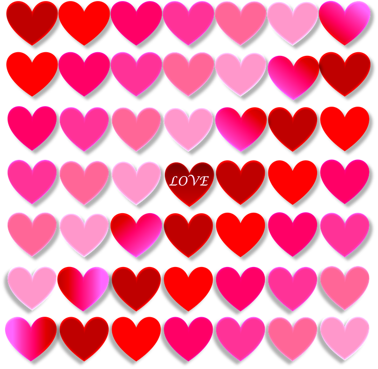 Heart, Love, Valentine, Red, Pink, Shades, Design
