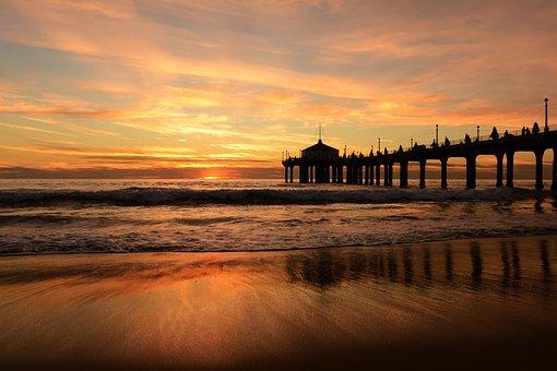 Jetty, Pier, Sea, Sunset, Dusk, Dawn