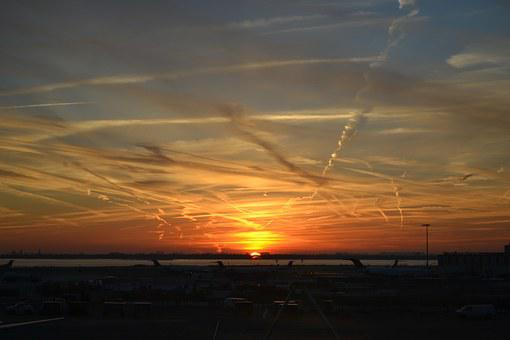 Sunset, Airport, Travel, Trip
