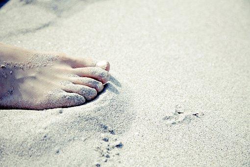Fuss, Barfuß, Sandstrand, Urlaub