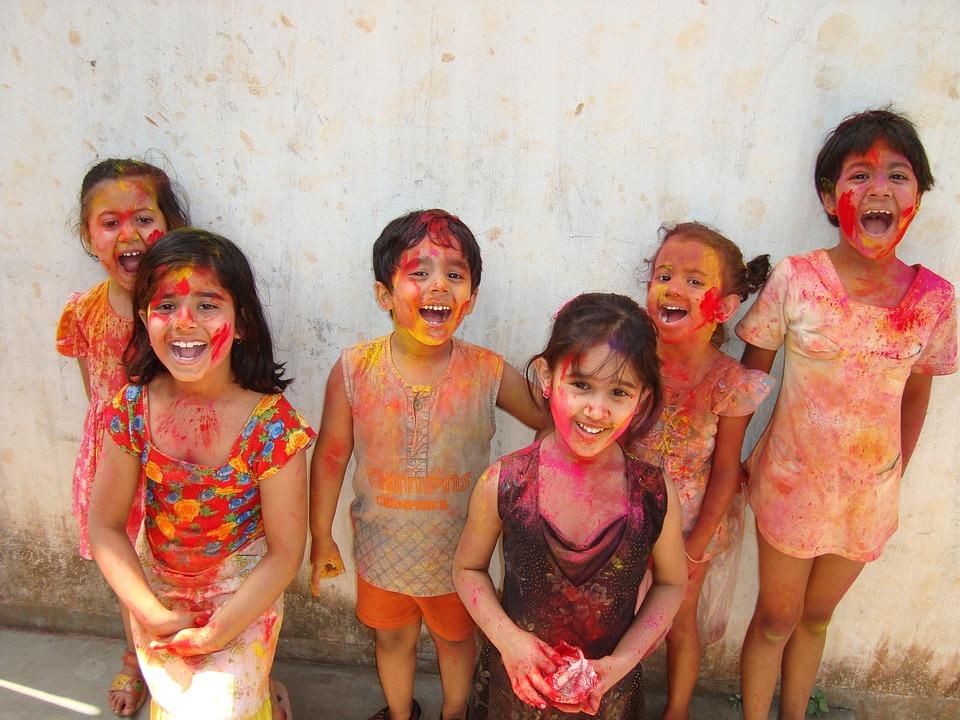 ホーリー, インド, 子供, 色, 文化, 伝統, 祭り, 休日, ペイント, 祝賀, カラフルです, 春