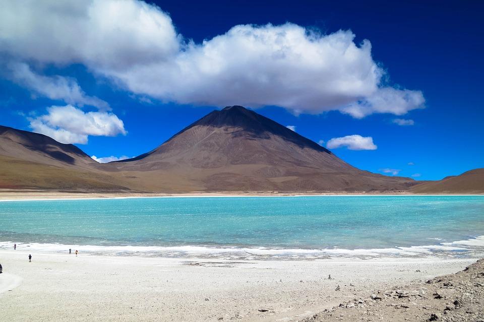 Volcan, Lac Salé, Désert D'Atacama, Désert, Sec, Chili