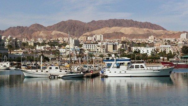 Eilat, Wüste, Meer, Boote, Israel
