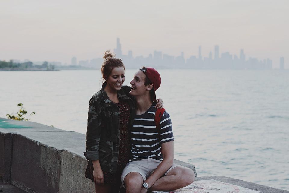 カップル, にこやか, 幸せ, 女性, 男, 愛, 人, 肖像画, 若いです, 幸福, ロマンチック