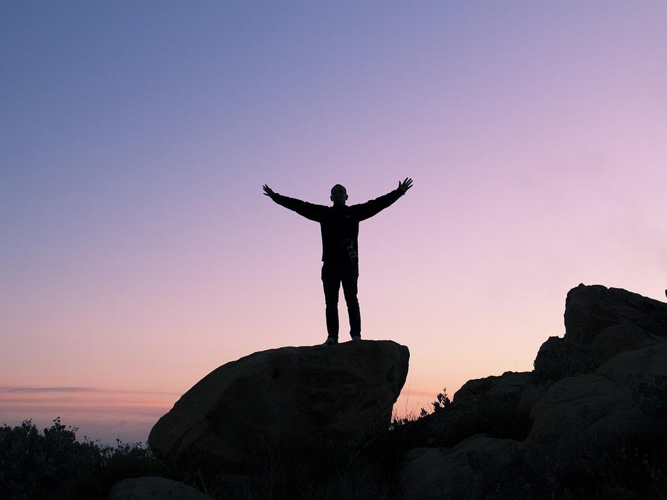 人, シルエット, 日没, 石, ボールダー, ピーク, 成功, 自由, 沈黙, 平和, 夕暮れ, 空, 紫