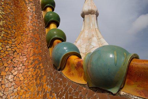 Barcelone, Gaudi, Toit, Architecture