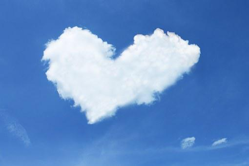 Cloud, Heart, Sky, Blue, White, Love