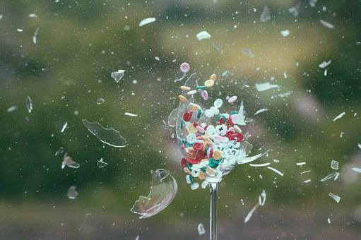 Explosion, Glass, Buttons, Exploding