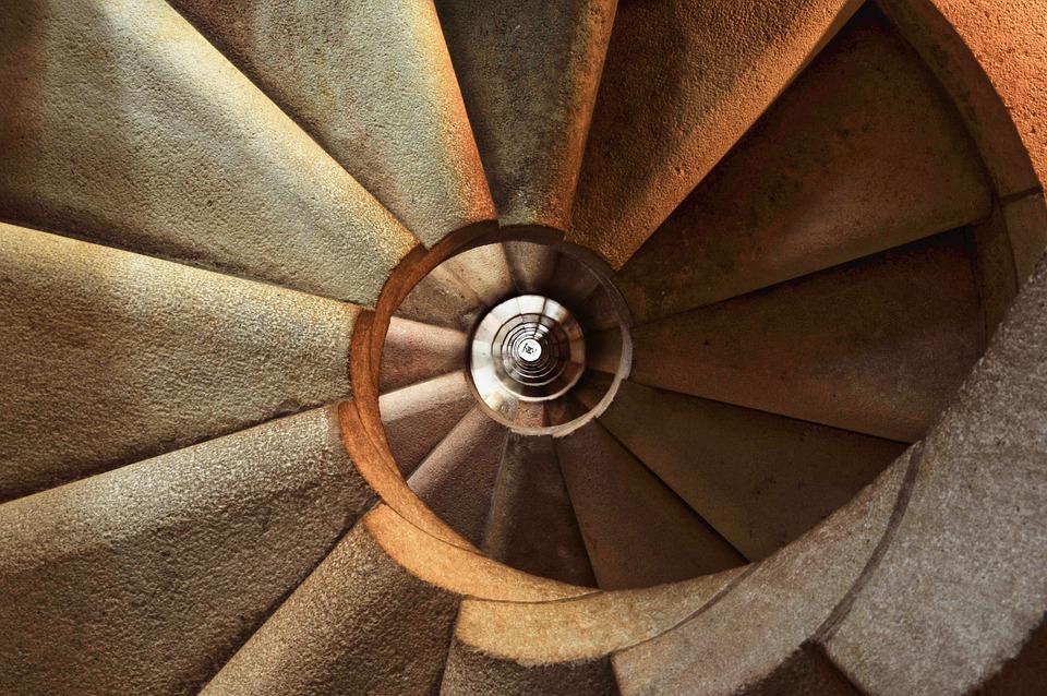 階段, 螺旋, アーキテクチャ, インテリア, ステップ, 結石, 円形, 階段の吹き抜け, 錯視