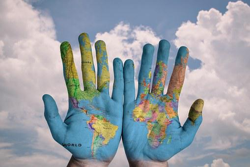Hands World Map Global Earth Globe Blue Cr