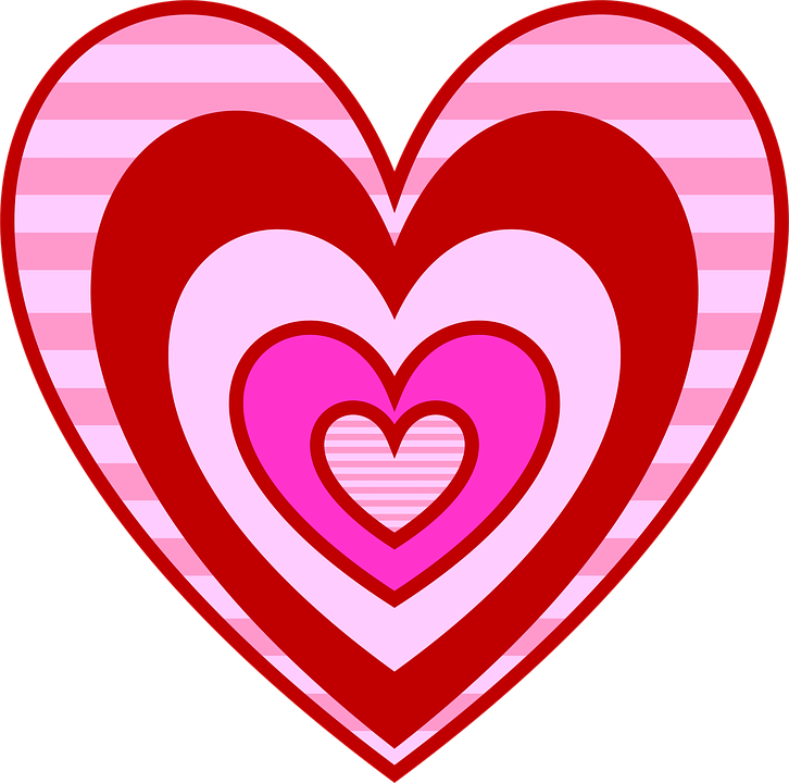 Valentine, Hearts, Love, Pink, Red, Magenta, Stripes