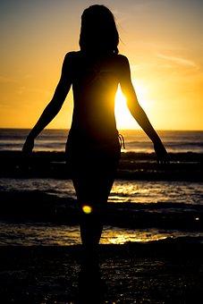 シルエット, ビーチ, 太陽, 日没, 夏, 海, 若いです, 女の子, 女性