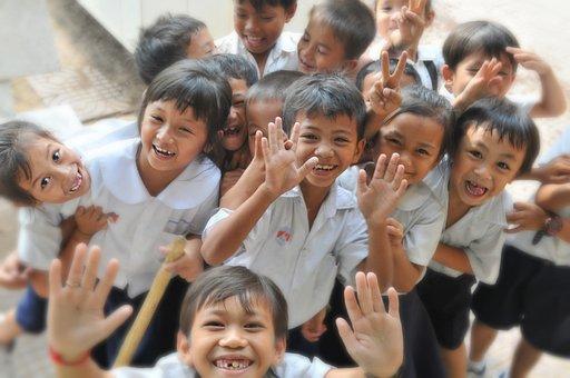 儿童, 学校, 笑, 乐趣, 幸福, 教育, 小学, 童年, 朋友, 男孩