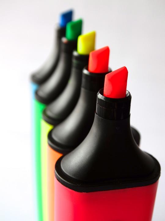 เน้น, ปากกาเรืองแสง, สี, ที่มีสีสัน, สีรุ้ง
