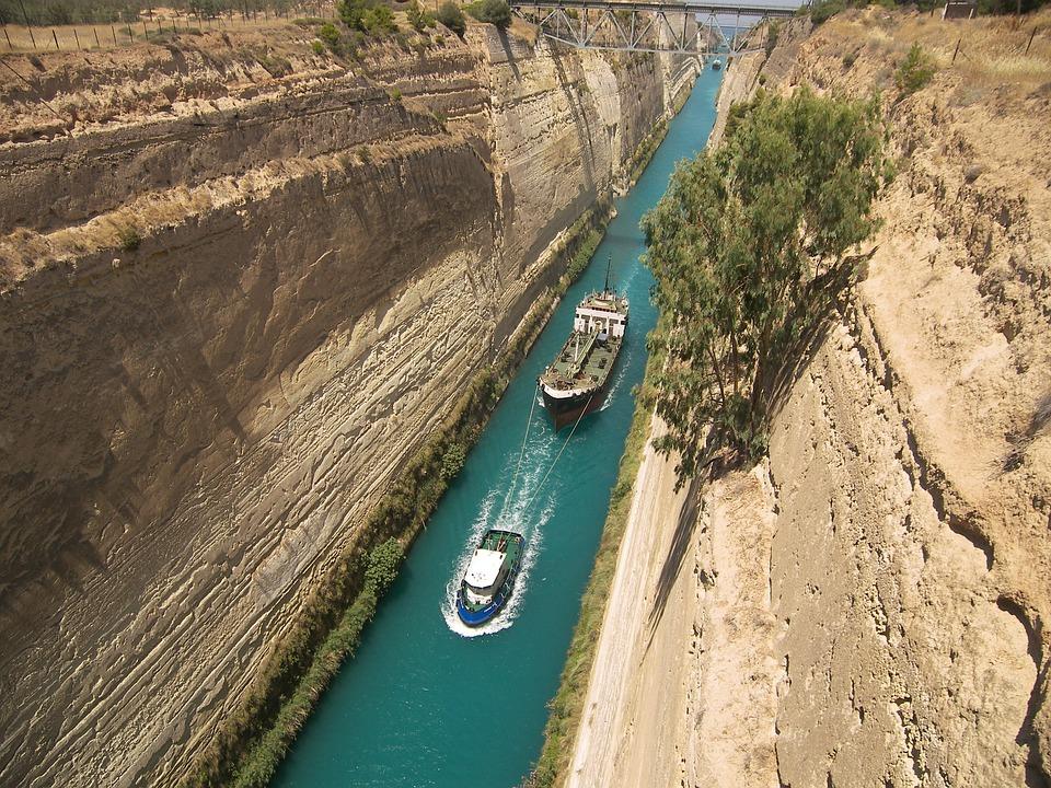 Navires, Canal, Grèce, Corinthe