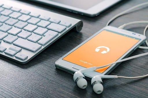 Samsung, Phone, Music, Play, Earphones