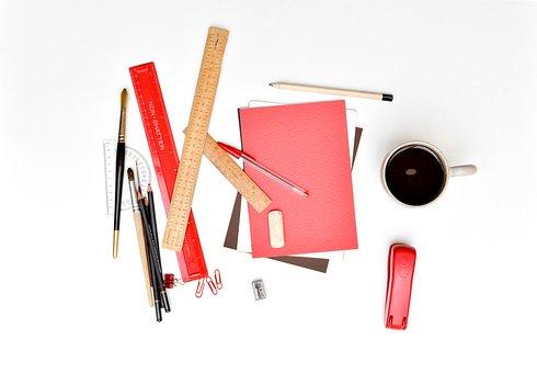 デスク, 文房具, オフィス, 厄介です, ルーラー, 紙, ペン, ホッチキス
