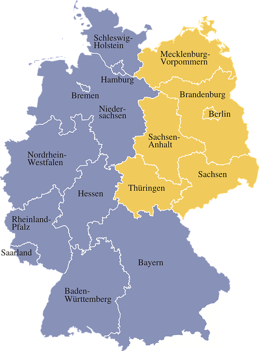 Map Germany Regions - Free vector graphic on Pixabay
