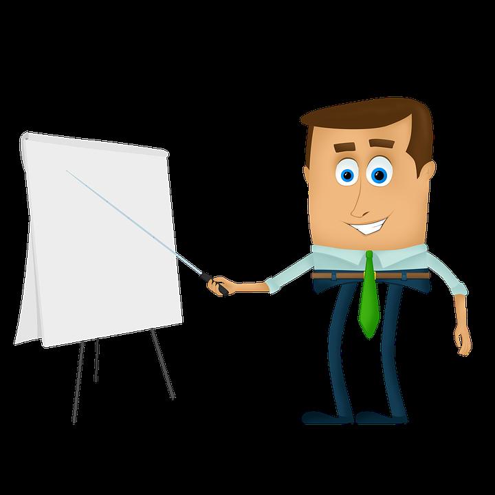 Empresário, Cartoons, Treinamento, Palestra