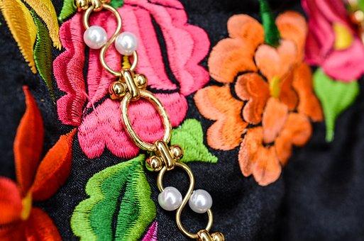 メキシコ, オアハカ, 手作り, ドレス, カラフルです, 刺繍, 服