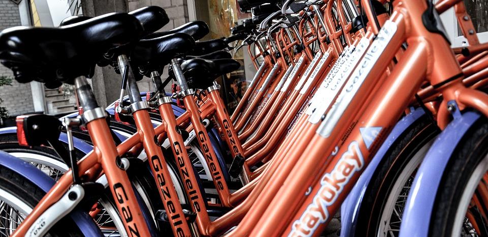 自転車, アムステルダム, オランダ, 観光, レンタル, 都市, たくさんの, 同じ, 同一