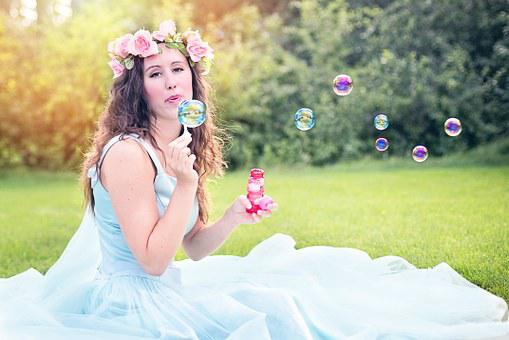 Woman, Blowing Bubbles, Young, Sitting