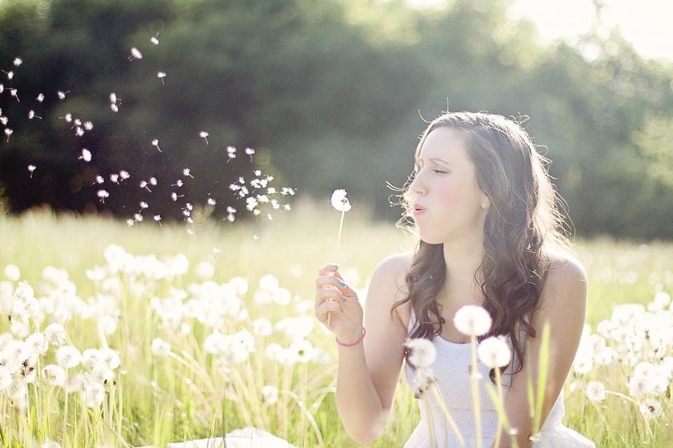 タンポポ, 女性, 発泡, 風, 夏, 自由, 自然, 若いです, 女の子, 座っている, 牧草地