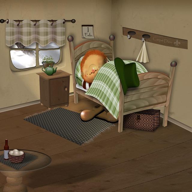 Illustration gratuite lit sommeil comique fatigu for Orientation lit bebe