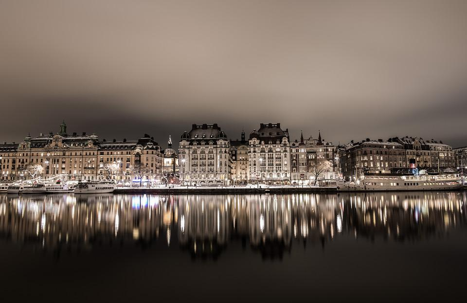 Reflection, City, Water, Night Photo, Stockholm