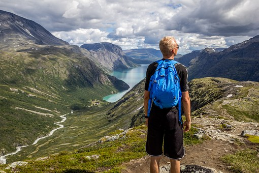 Norge, Fjellet, Himmel, Blå, Vann, Folk