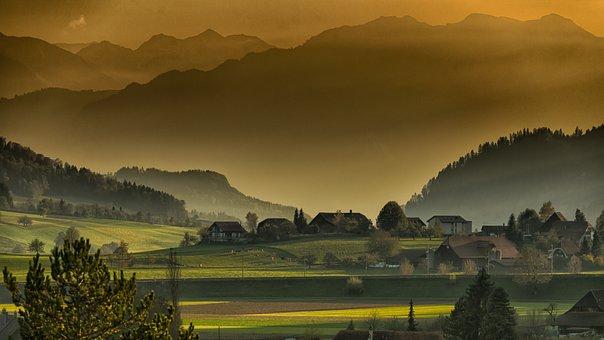 山, 村, 木, 丘, フィールド, 風景, 秋, ミステリー, 自然, 住宅